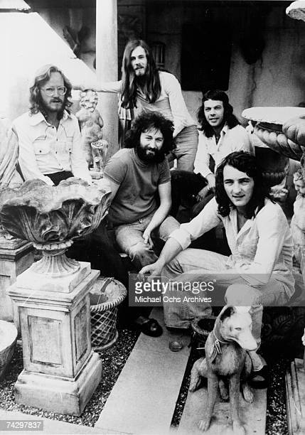 John A Helliwell Dougie Thomson Bob C Benberg Roger Hodgson and Rick Davies of the rock group 'Supertramp' pose for a portrait in circa 1975