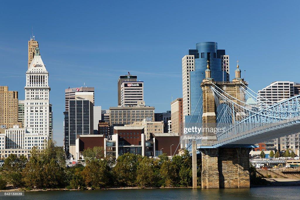 John A. Roebling bridge and Cincinnati skyline