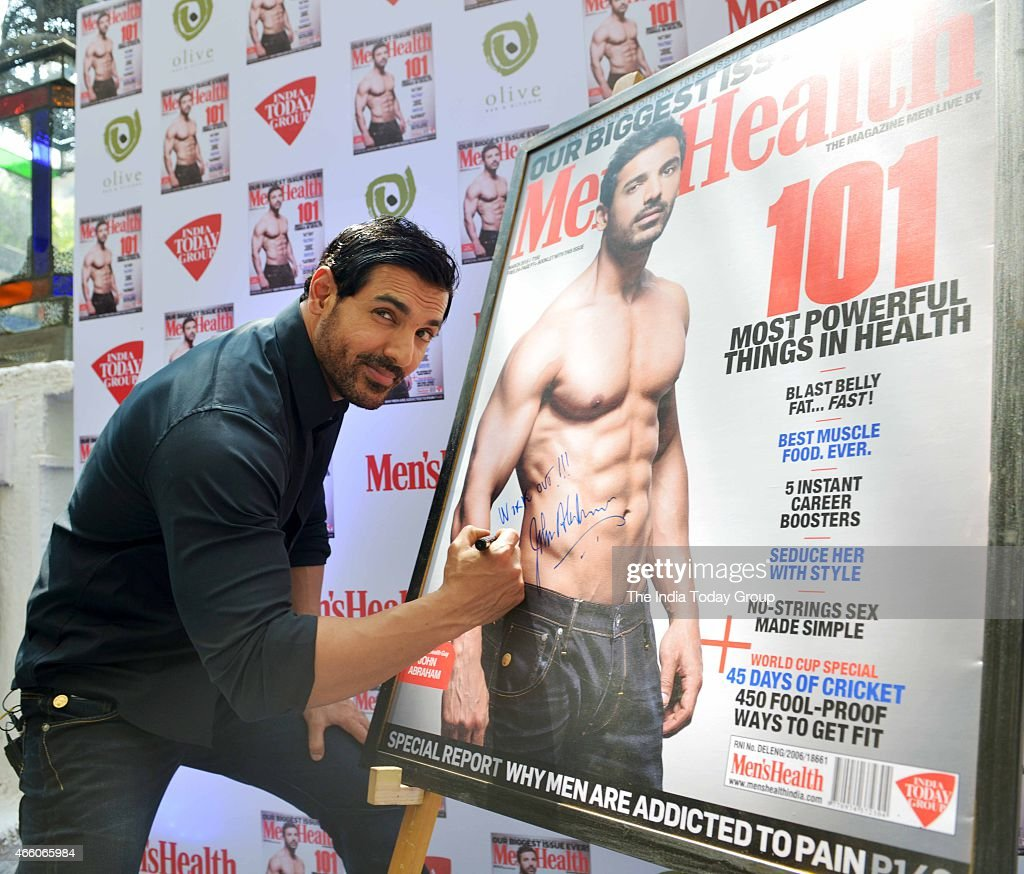 John Abraham at the cover launch of Mens Health magazine featuring him in the latest issue.