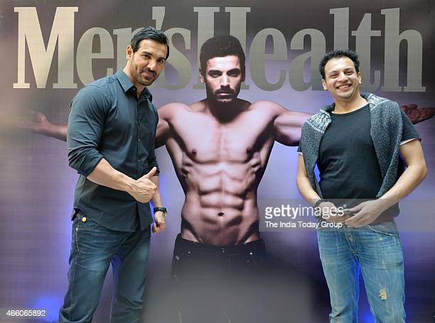 John Abraham with editor of Mens Health magazine Jamal Shaikh at the cover launch of Mens Health magazine featuring John Abraham in the latest issue