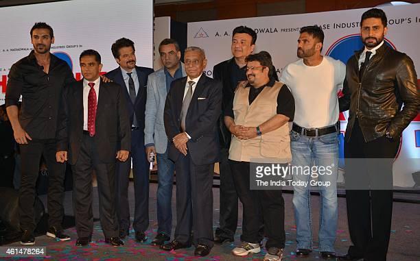 John AbrahamAnil KapoorAbhishek BachchanSunil Shetty and Paresh Rawal at the announcement ceremony of Hera Pheri 3