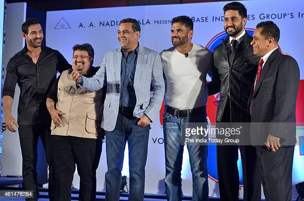 John AbrahamNeeraj VoraParesh RawalSunil Shetty and Abhishek Bachchan at the announcement ceremony of Hera Pheri 3