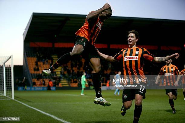 John Akinde of Barnet celebrates scoring to make it 30 during the Vanarama Football Conference League match between Barnet and Southport at The Hive...