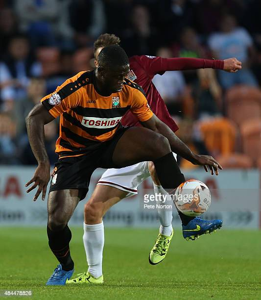 John Akinde of Barnet controls the ball during the Sky Bet League Two match between Barnet and Northampton Town at The Hive on August 18 2015 in...
