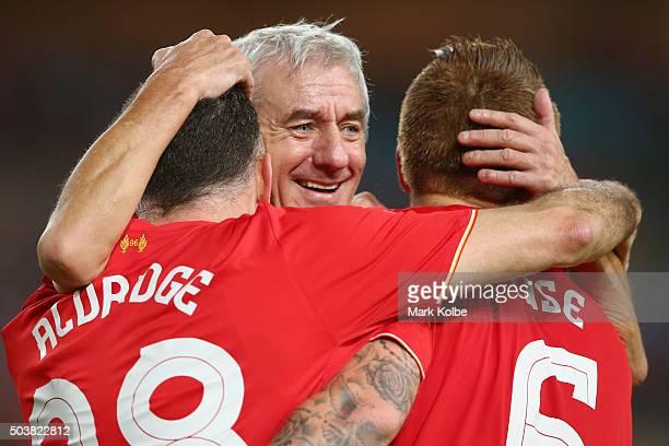 John Aldridge Ian Rush and John Arne Riise of the Liverpool FC Legends celebrate after John Aldridge of the Liverpool FC Legends scored a goal during...