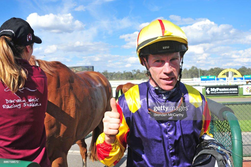 John Allen after winning the Adroit Insurance BM70 Handicap at Bendigo Racecourse on December 06, 2017 in Bendigo, Australia.