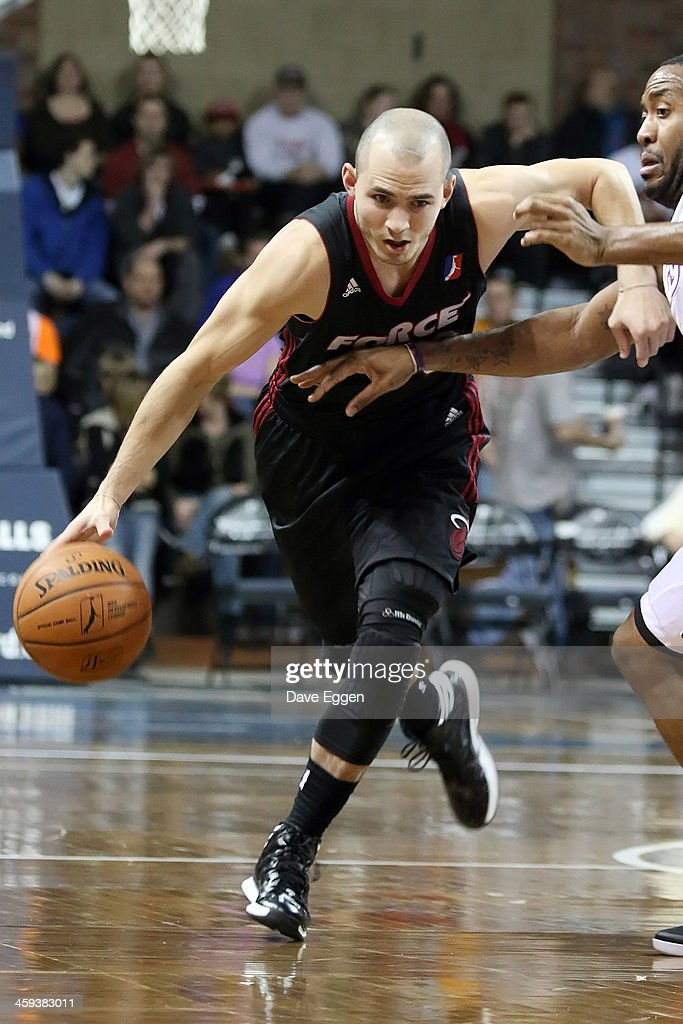 John Allen from the Sioux Falls Skyforce looks to drive against Austin Freeman from the Iowa Energy in the first half of their NBA DLeague game...