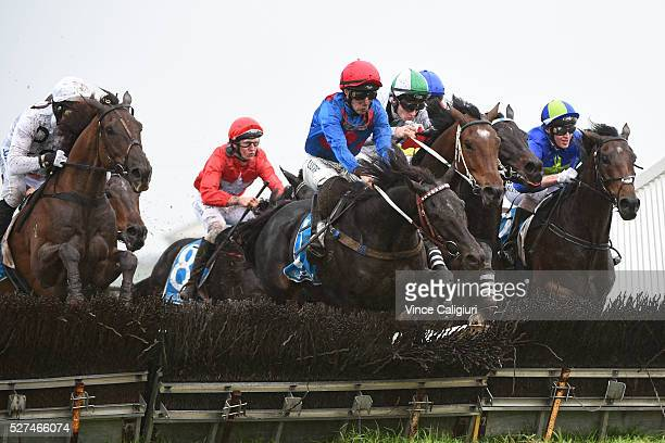 John Allen riding Ancient King jumps the second last hurdle in Race 3 the George Taylor Memorial Hurdle during Brierly Day at Warrnambool Race Club...
