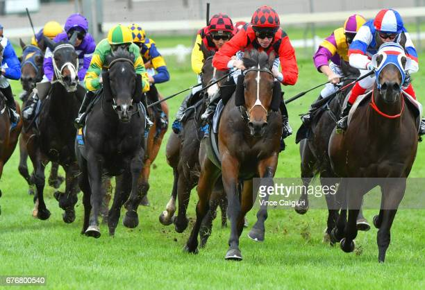 John Allen riding Break and Enter winning Race 3 during the Warrnambool Racing Carnival on May 3 2017 in Warrnambool Australia