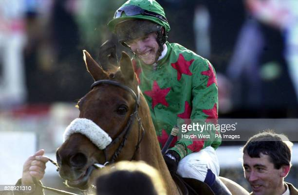 John Allen riding Dromlease Express after winning the Pierse Hurdle Sunday 11 January at Leopardstown Racecourse Dublin Ireland