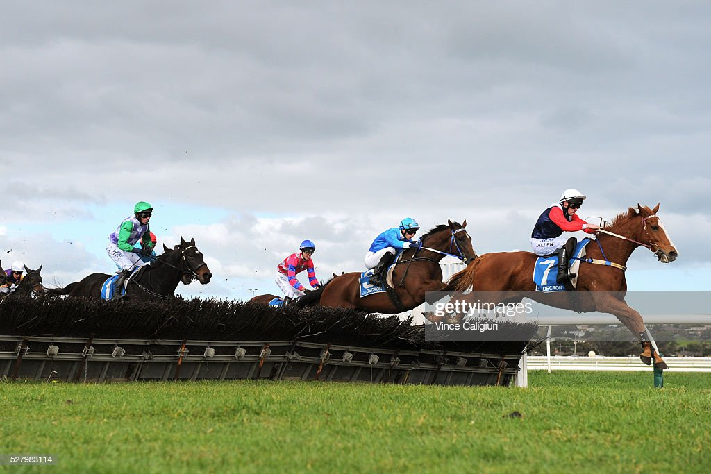 <a gi-track='captionPersonalityLinkClicked' href=/galleries/search?phrase=John+Allen+-+Jockey&family=editorial&specificpeople=15787046 ng-click='$event.stopPropagation()'>John Allen</a> riding Gingerboy jumping the second last hurdle before winning Race 6, the Galleywood Hurdle during Brierly Day at Warrnambool Race Club on May 4, 2016 in Warrnambool, Australia.