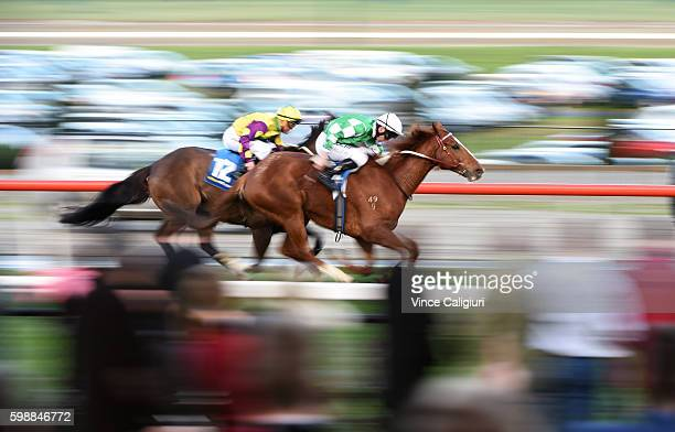 John Allen riding Killarney Kid wins Race 9 during Melbourne racing at Moonee Valley Racecourse on September 3 2016 in Melbourne Australia