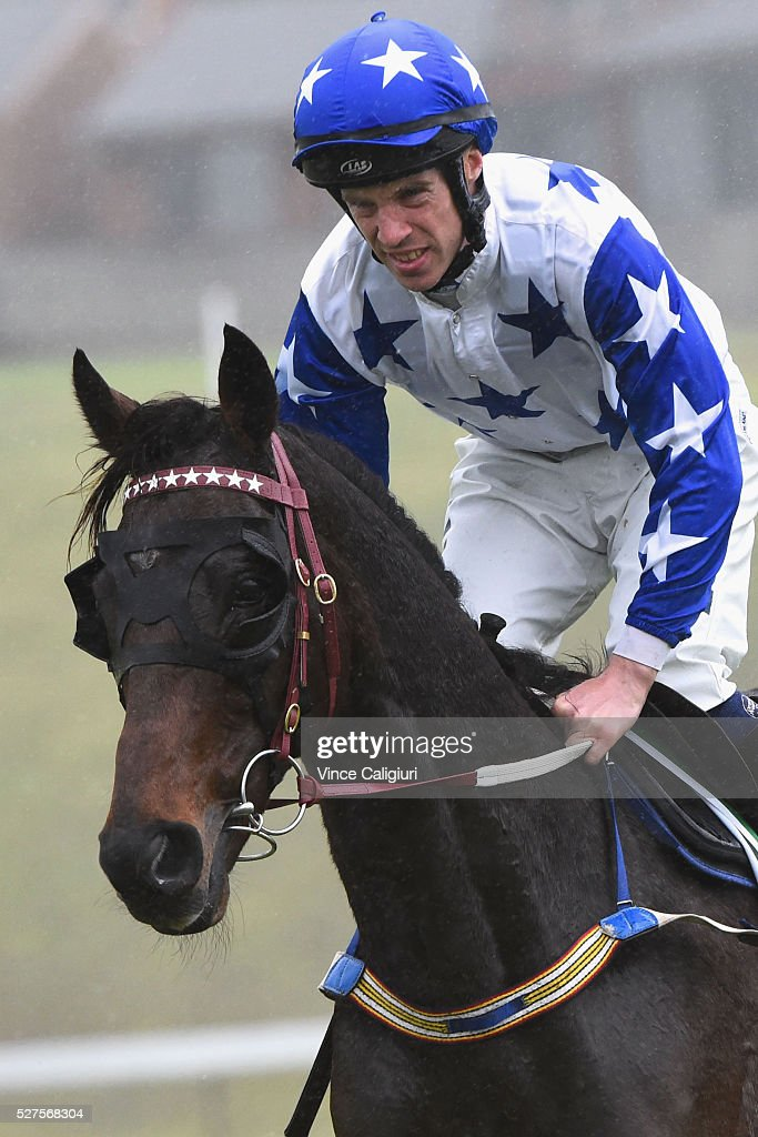 John Allen riding Paraggi before winning Race 2, the TAB.Com.au Maiden Hurdle during Brierly Day at Warrnambool Race Club on May 3, 2016 in Warrnambool, Australia.