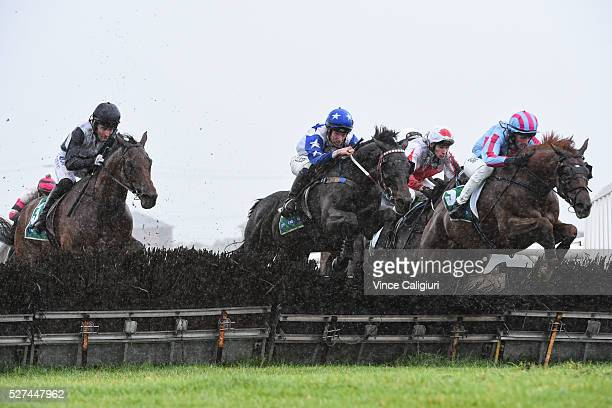 John Allen riding Paraggi jumping the secong last hurdle before winning Race 2 the TABComau Maiden Hurdle during Brierly Day at Warrnambool Race Club...