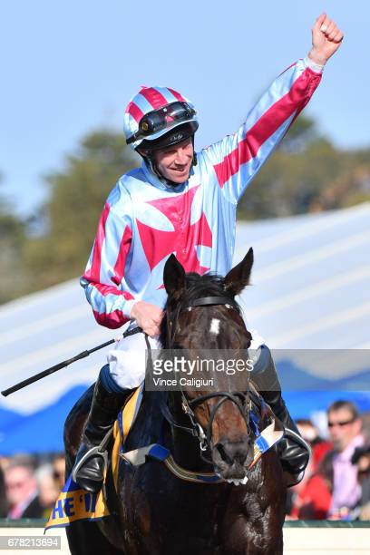 John Allen riding Regina Coeli after winning Grand Annual Steeple Chase during the Warrnambool Racing Carnival on May 4 2017 in Warrnambool Australia
