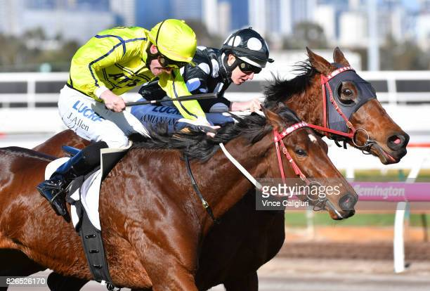 John Allen riding Yogi wins Race 6 during Melbourne Racing at Flemington Racecourse on August 5 2017 in Melbourne Australia