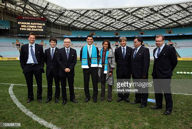 John Aloisi and Cathy Freeman pose with the FIFA inspection team delegates during the FIFA Australian Inspection Tour at Stadium Australia on July 26...