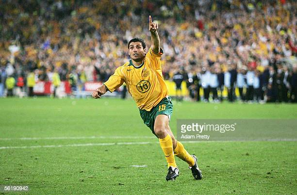 John Aloisi of Australia celebrates scoring the winning goalin the penalty shootout during the second leg of the 2006 FIFA World Cup qualifying match...