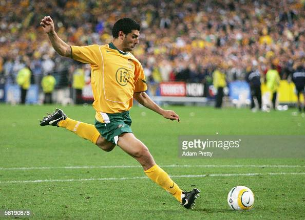 John Aloisi of Australia kicks the winning goal during the second leg of the 2006 FIFA World Cup qualifying match between Australia and Uruguay at...