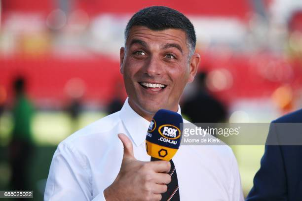 John Aloisi of Brisbane Roar reacts while being interviewd before the round 23 ALeague match between Adelaide United and the Brisbane Roar at Coopers...