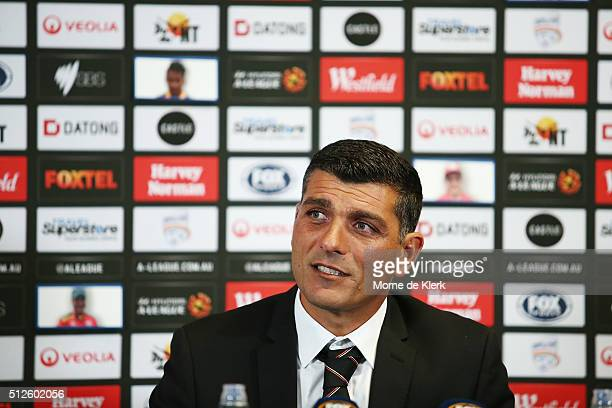 John Aloisi of Brisbane Roar speaks to media during a postmatch press conference during the round 21 ALeague match between Adelaide United and the...