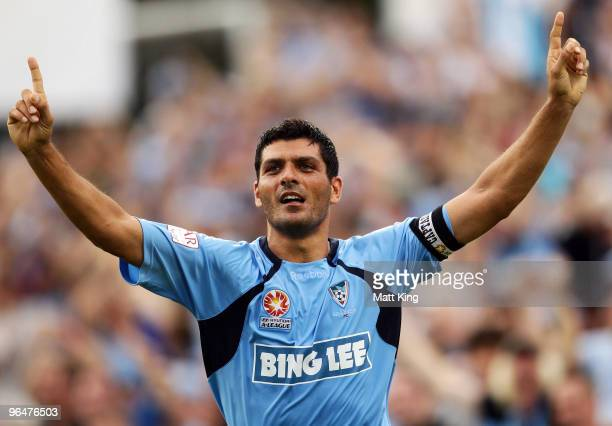 John Aloisi of Sydney celebrates scoring the final goal during the round 26 ALeague match between Sydney FC and the Perth Glory at Parramatta Stadium...