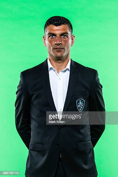 John Aloisi poses during the Brisbane Roar ALeague headshots session at Fox Sports Studios on September 17 2015 in Sydney Australia