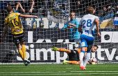 John Alvbage goalkeeper of IFK Goteborg saves a penalty kick from Viktor Claesson of IF Elfsborg during the Allsvenskan match between IF Elfsborg and...