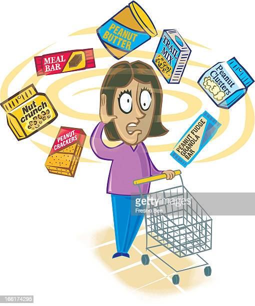 John Alvin color illustration of grocery shopper in confusion from the peanut products circling her head