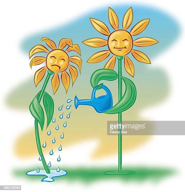 John Alvin color illustration of taller stronger flower watering younger wilting flower