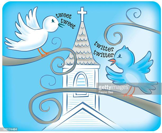 John Alvin color illustration showing Twitter birds tweeting around a church steeple can be used with stories baout churches embracing Twitter as a...