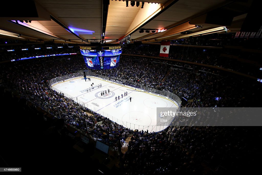 John Amirante performs the national anthem prior to the start of Game Five of the Eastern Conference Finals between the New York Rangers and the...