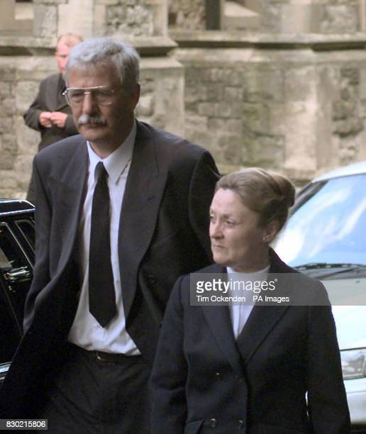 John and Joyce Evans from Bristol parents of Lt Gareth Evans arrive at the Brompton Garrison Church Gillingham Kent for the funeral of their son who...