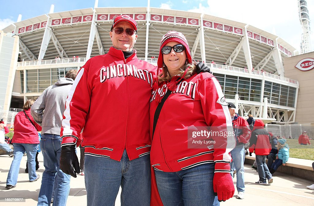 John and Katie Blanton pose in front of the stadium before the start of the Los Angeles Angels of Anaheim game against the Cincinnati Reds at Great American Ball Park on April 1, 2013 in Cincinnati, Ohio.