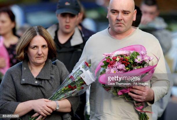 John and Toni Lappin at the scene where their son Joseph Lappin was stabbed to death outside a youth club in Everton on Monday night