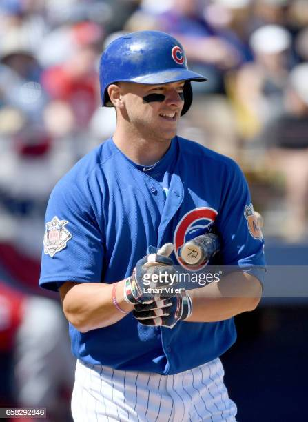John Andreoli of the Chicago Cubs bats against the Cincinnati Reds during their exhibition game on March 26 2017 in Las Vegas Nevada The Cubs won 224