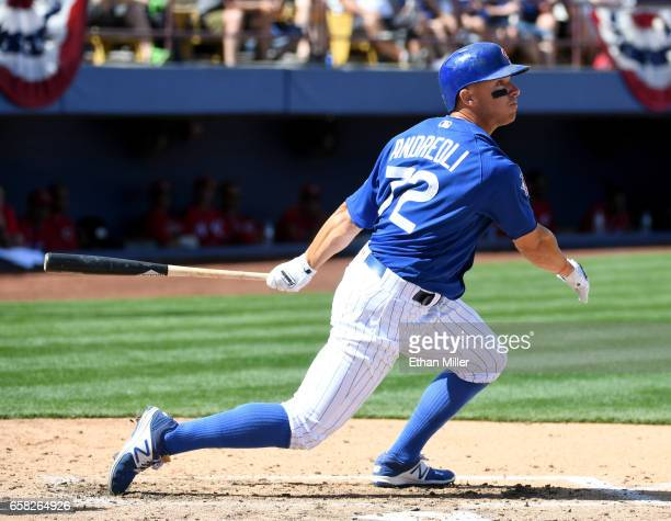 John Andreoli of the Chicago Cubs bats in the fourth inning against the Cincinnati Reds during their exhibition game at Cashman Field on March 26...