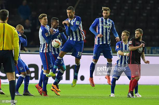 John Anthony Brooks Niklas Stark Salomon KalouVedad Ibisevic Marvin Plattenhardt of Hertha BSC Peter Pekarik of Hertha BSC and Marc Stendera of...