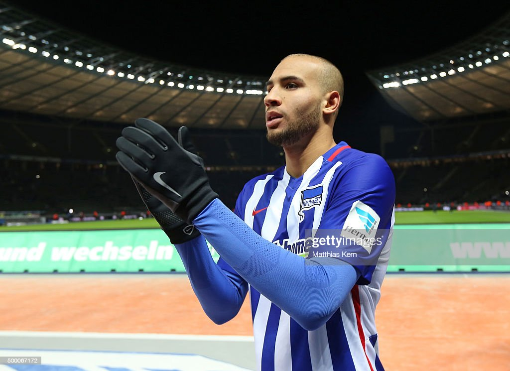 John Anthony Brooks of Berlin looks on after winning the Bundesliga match between Hertha BSC and Bayer Leverkusen at Olympiastadion on December 5, 2015 in Berlin, Germany.
