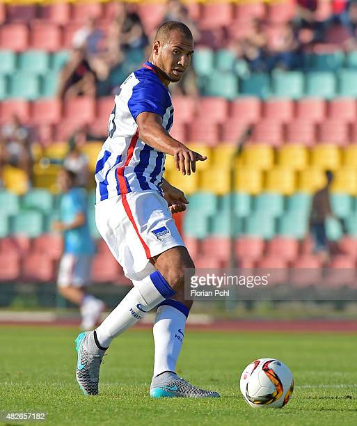 John Anthony Brooks of Hertha BSC passes the ball during the game between Hertha BSC and CFC Genua on august 1 2015 in Berlin Germany
