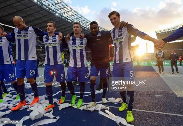 John Anthony Brooks Peter Pekarik Mitchell Weiser Salomon Kalou and Niklas Stark of Hertha BSC celebrate the 21 win after the Bundesliga match...