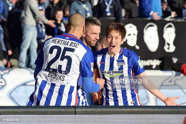 John Anthony Brooks Vedad Ibisevic and Genki Haraguchi of Hertha BSC celebrate during the game between Hertha BSC and dem FC Ingolstadt on march 19...