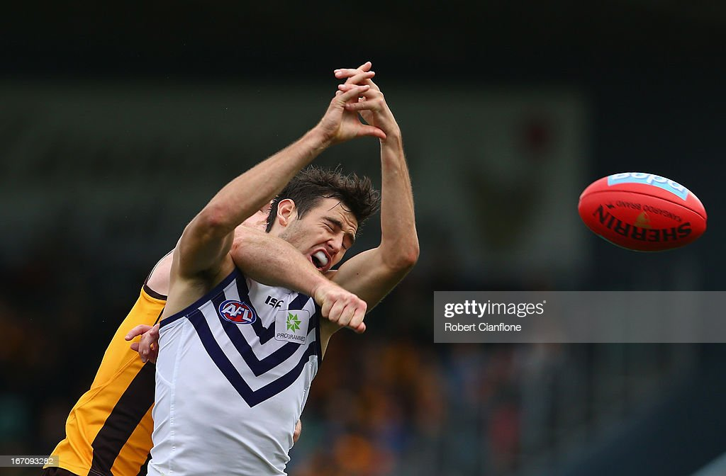 John Anthony of the Dockers fails to hold the ball during the round four AFL match between the Hawthorn Hawks and the Fremantle Dockers at Aurora Stadium on April 20, 2013 in Launceston, Australia.