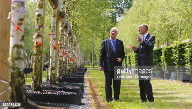 John Armitt Chairman of the Olympic Delivery Authority and Robert Hillier among some of the 2000 trees at Hillier Nurseries near Romsey Hampshire...