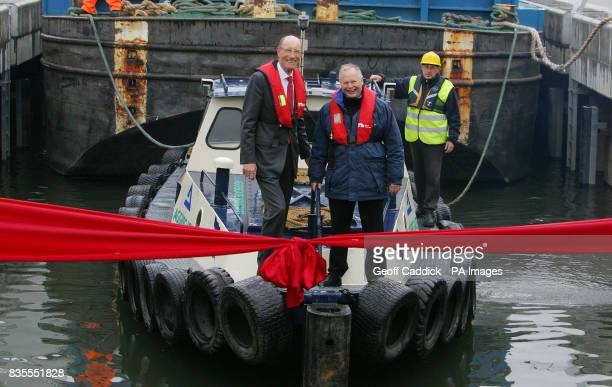 John Armitt left Chairman of the Olympic Delivery Authority and Tony Hales right Chairman of British Waterways officially open Three Mills Lock in...