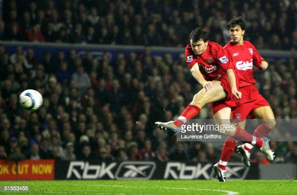 John Arne Riise of Liverpool scores the opening goal during the FA Barclays Premiership match between Liverpool and Charlton Athletic at Anfield on...