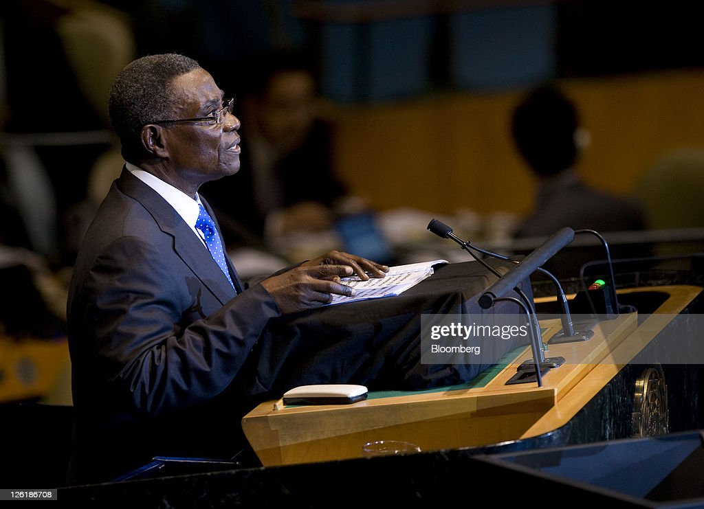 <a gi-track='captionPersonalityLinkClicked' href=/galleries/search?phrase=John+Atta+Mills&family=editorial&specificpeople=2650122 ng-click='$event.stopPropagation()'>John Atta Mills</a>, Ghana's president, speaks during the 66th annual United Nations General Assembly at the UN in New York, U.S., on Friday, Sept. 23, 2011. The General Debate theme is 'The role of mediation in the settlement of disputes by peaceful means.' Photographer: Scott Eells/Bloomberg via Getty Images
