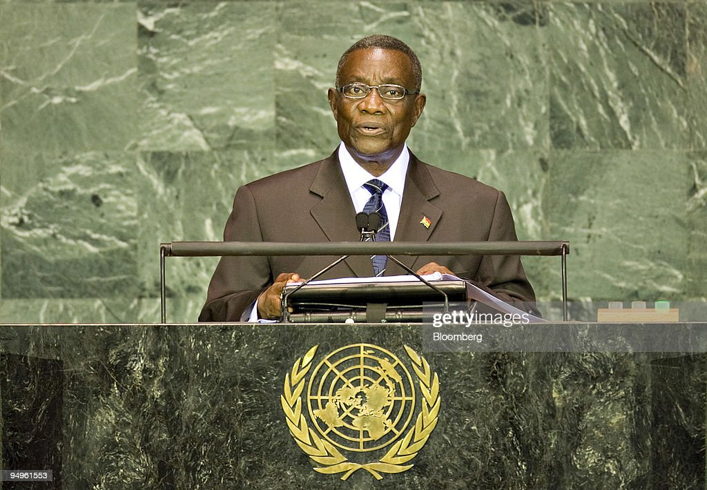 <a gi-track='captionPersonalityLinkClicked' href=/galleries/search?phrase=John+Atta+Mills&family=editorial&specificpeople=2650122 ng-click='$event.stopPropagation()'>John Atta Mills</a>, president of Ghana, speaks at the 64th annual United Nations General Assembly in New York, U.S., on Thursday, Sept. 24, 2009. The General Debate portion of the General Assembly runs until Sept. 28.