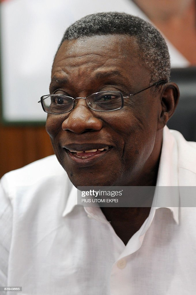 John Attah Mills, candidate of the main opposition National Democratic Congress (NDC) party listens to unofficial results of the general elections in Accra, December 8, 2008. Partial unofficial results showed a neck-and-neck race Monday in Ghana as votes were counted after general elections held up as a shining example for the rest of Africa. Nana Akufo-Addo of the ruling New Patriotic Party (NPP) held a slight lead, according to partial unofficial results broadcast by independent television and radio stations. AFP PHOTO/PIUS UTOMI EKPEI
