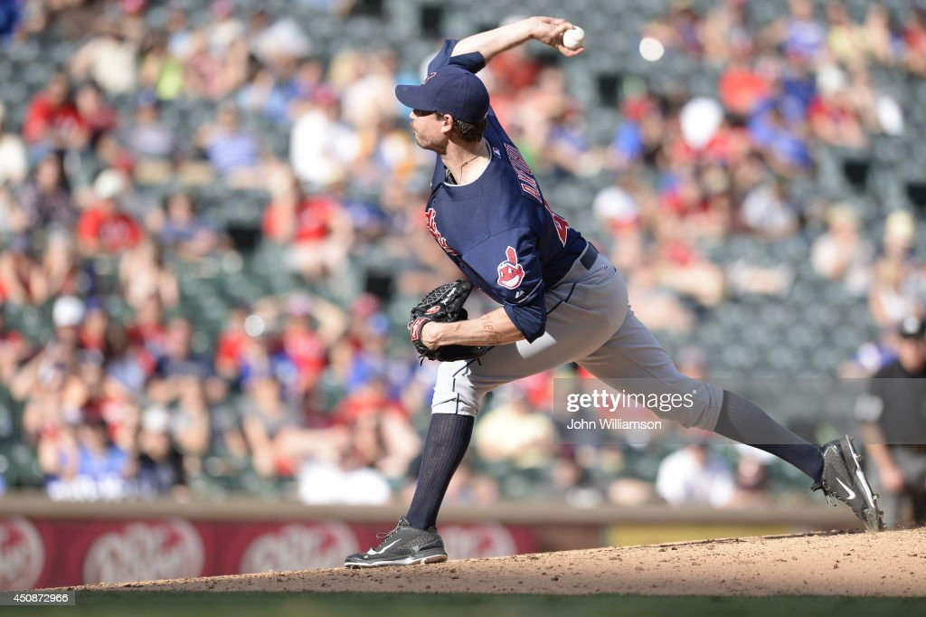 John Axford #44 of the Cleveland Indians pitches against the Texas Rangers at Globe Life Park in Arlington on June 7, 2014 in Arlington, Texas. The Cleveland Indians defeated the Texas Rangers 8-3.